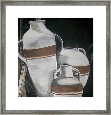Striped Water Jars Framed Print by Trudy-Ann Johnson