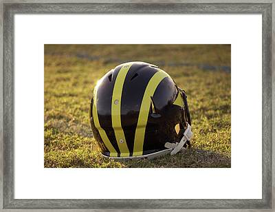 Striped Wolverine Helmet On The Field At Dawn Framed Print