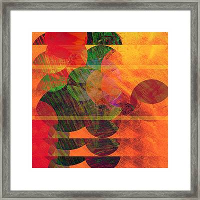 Stripes And Circles Framed Print by Ann Powell