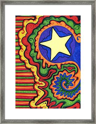 Stripes And Star Framed Print by Mandy Shupp