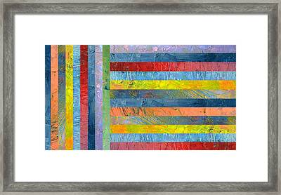 Stripes With Blue And Red Framed Print by Michelle Calkins