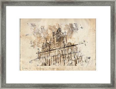 Stroked S.patrick Cathedral Framed Print by Andrea Barbieri