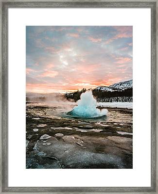 Strokkur Winter Blowup In Front Of Sunset Framed Print