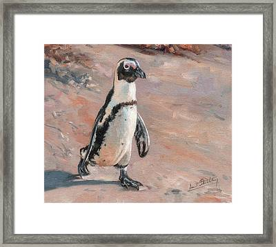 Stroll Along The Beach Framed Print by David Stribbling