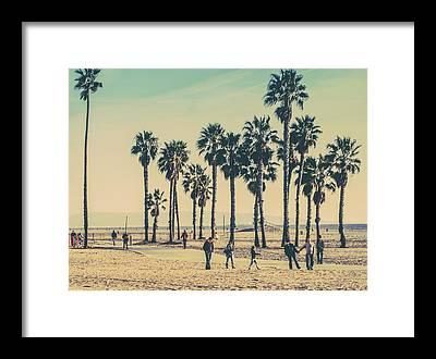 People Walking On Beach Framed Prints