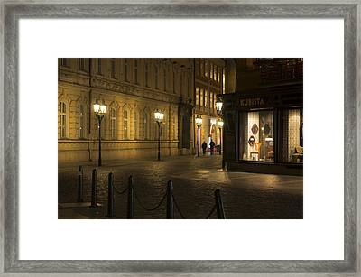 Stroll In Prague's Evening Framed Print by Marek Boguszak