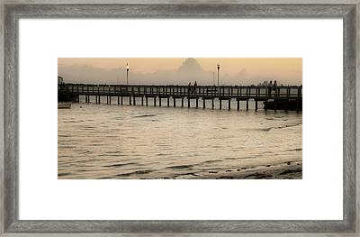 Stroll On The Pier Framed Print by Rose  Hill