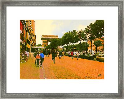 Strollers Along The Champs Elysees Framed Print