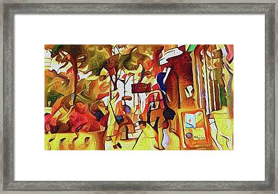 Strolling Along Peach Tree Street Framed Print