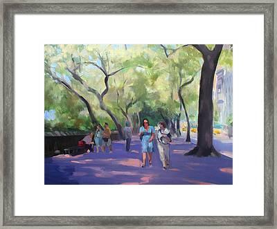 Strolling In Central Park Framed Print by Merle Keller