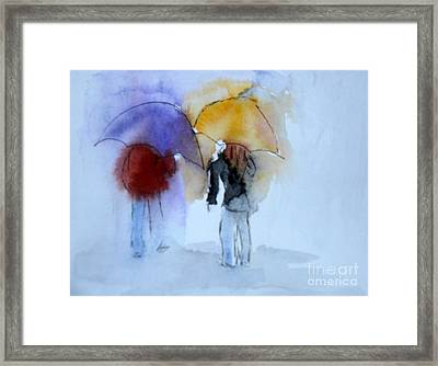 Strolling In The Rain Framed Print by Vicki  Housel