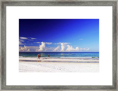 Framed Print featuring the photograph Strolling The Beach by Gary Wonning