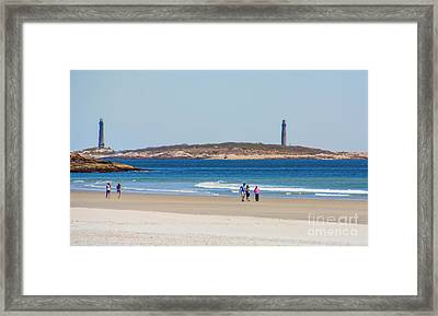 Strolling The Beach Framed Print