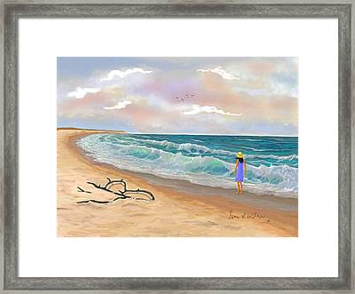 Framed Print featuring the painting Strolling The Beach by Sena Wilson