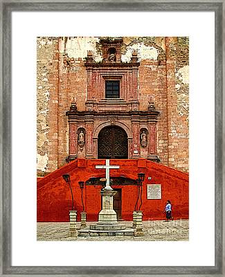 Strolling The Cathedral Plaza Framed Print by Mexicolors Art Photography