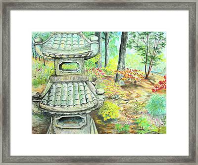 Strolling Through The Japanese Garden Framed Print