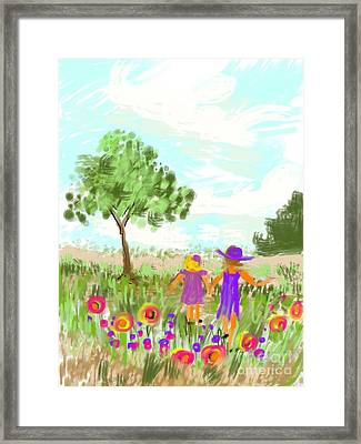 Framed Print featuring the digital art Strolling Thru The Field by Elaine Lanoue