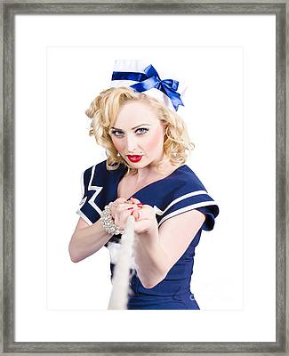Strong Sailor Pin-up Model Pulling On Tough Rope Framed Print