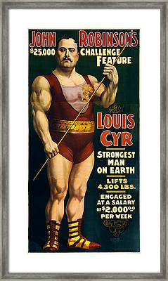 Strongest Man On Earth - Vintage Strongman Framed Print by War Is Hell Store