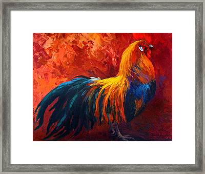 Strutting His Stuff - Rooster Framed Print by Marion Rose