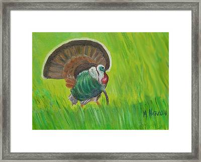 Framed Print featuring the painting Strutting Turkey In The Grass by Margaret Harmon