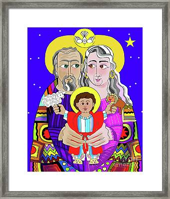 Sts. Ann And Joachim, Grandparents With Jesus - Mmjag Framed Print