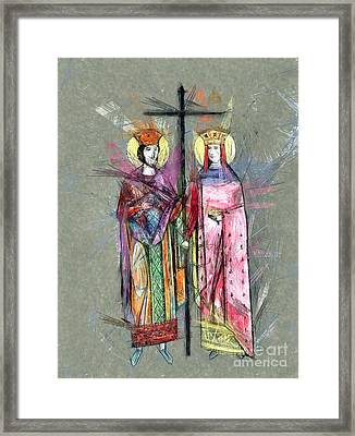 Sts. Constantine And Helen Framed Print by Daliana Pacuraru