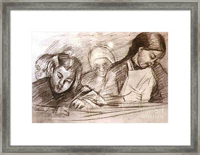 Students Of The Old Time Framed Print by George Siaba