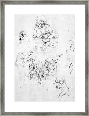 Studies For A Madonna With A Cat Framed Print