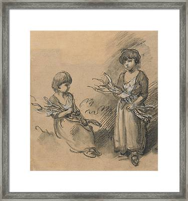 Studies Of Girls Carrying Faggots Framed Print by Thomas Gainsborough