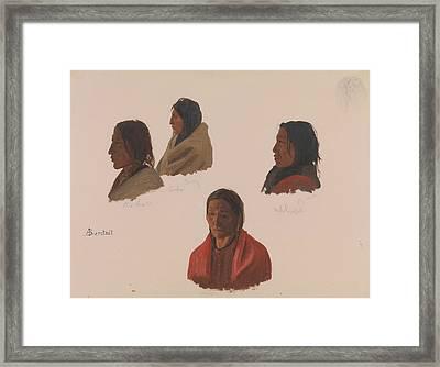 Studies Of Indian Chiefs Made At Fort Laramie Framed Print by Albert Bierstadt