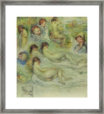 Studies Of Pierre Renoir, His Mother, Aline Charigot, Nudes, And Landscape Framed Print by Pierre Auguste Renoir