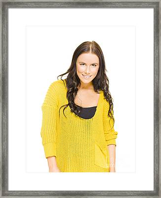 Studio Portrait Of A Bright Happy Girl With Smile Framed Print
