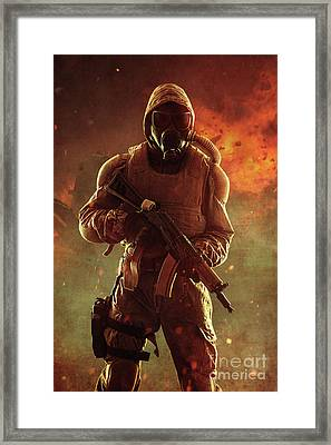 Studio Shot Nuclear Survivor With Weapons Framed Print