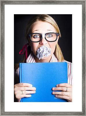 Studious Nerd Student Cramming Before Exams Framed Print by Jorgo Photography - Wall Art Gallery