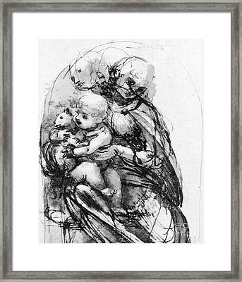Study For A Madonna With A Cat Framed Print by Leonardo da Vinci