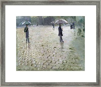 Study For A Paris Street Rainy Day Framed Print by Gustave Caillebotte