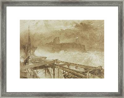 Study For Blue Lights Tynemouth Pier   Lighting The Lamps At Sundown Framed Print by Alfred William Hunt
