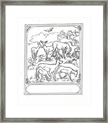 Study For Bronze Antelope And Deer Sculpture 2 Framed Print by Dawn Senior-Trask