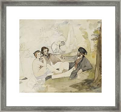 Study For Dejeuner Sur L Herbe Framed Print by Edouard Manet