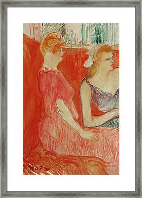 Study For In The Salon On The Rue Des Moulins Framed Print by Henri de Toulouse-Lautrec