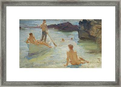 Study For Morning Splendor Framed Print by Henry Scott Tuke