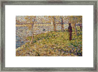 Study For Sunday Afternoon On The Island Of La Grand Jatte Framed Print by Georges Pierre Seurat