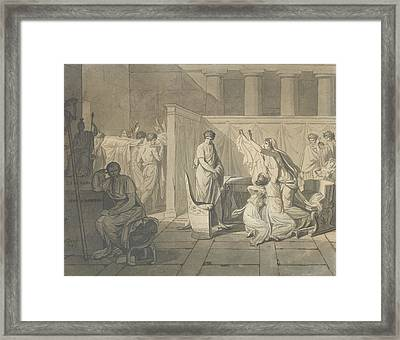 Study For The Lictors Bringing Brutus The Bodies Of His Sons Framed Print
