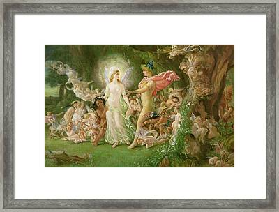 Study For The Quarrel Of Oberon And Titania Framed Print by Joseph Noel Paton