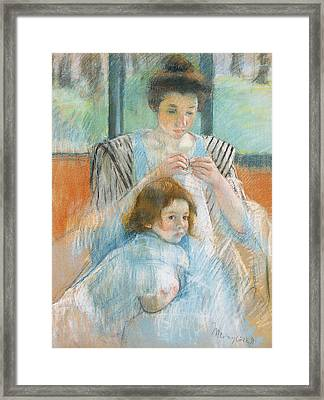 Study For Young Mother Sewing Framed Print