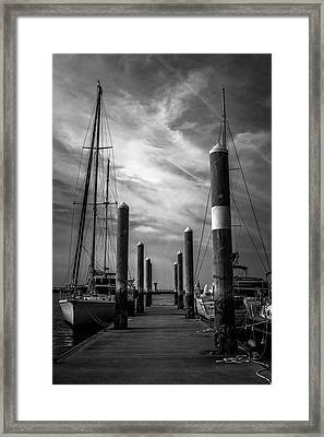 Study In Black And White Marina Landscape Framed Print by Wendy Mogul