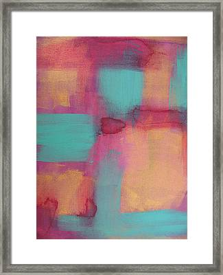Study In Gold And Teal Framed Print by Lindie Racz