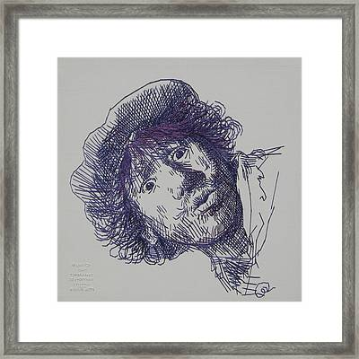 study-in-thread of 1630 Rembrandt self-portrait etching Framed Print by Barbara Lugge