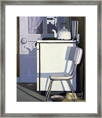 Study In White Enamel Framed Print by Donald Maier